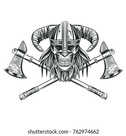 Skull in the helmet of the Viking in the style of engraving. Vector illustration.