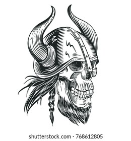 Skull in the helmet of the Viking in the style of engraving. Tattoo sketch. Vector illustration.