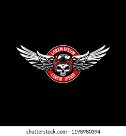 skull with helmet and wing vector emblem logo template