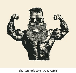 Skull Hipster Bodybuilder with mustache, beard, tobacco pipes and sunglasses. Comic character. Vector Illustration.