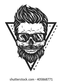 Skull hipster glasses and geometric elements.