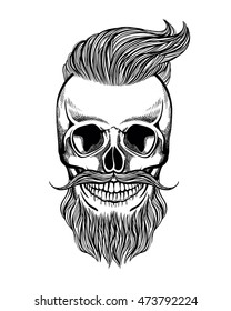 Skull hipster with mustache, beard, coloring page, vector illustration