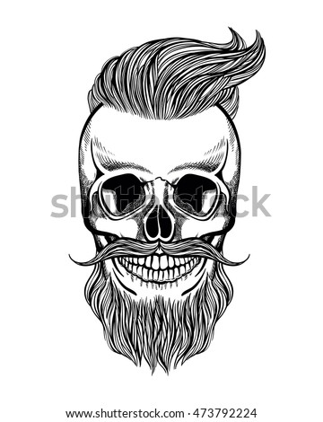 Skull Hipster Mustache Beard Coloring Page Stock Vector Royalty