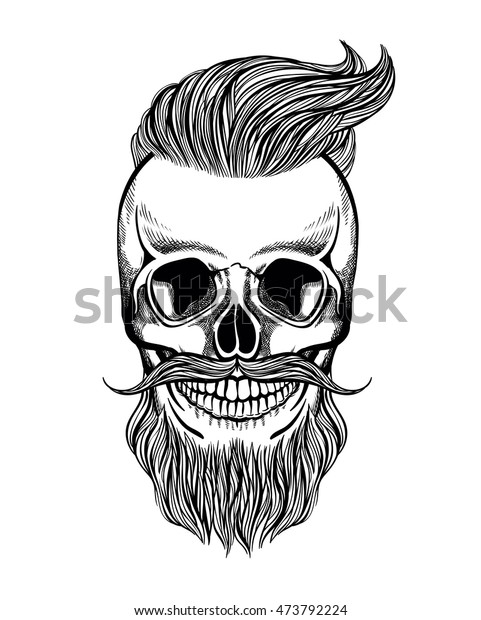 Skull Hipster Mustache Beard Coloring Page Stock ...