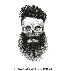 Skull hipster style, creative fashion design. Hand drawn vector illustration