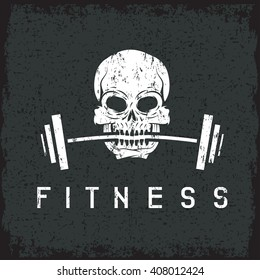 skull holding barbell in the teeth grunge fitness concept