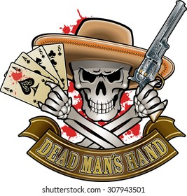 """skull holding cards """"dead man´s hand"""" and revolver"""