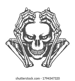 skull holding head illustration. black and white vector. for t-shirt or for tattoo