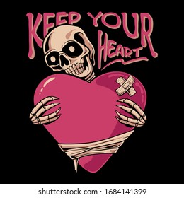Skull holding love illustration. Skeleton hugging heart. Keep your heart