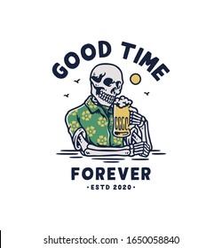 skull holding a mug of beer. vector illustration