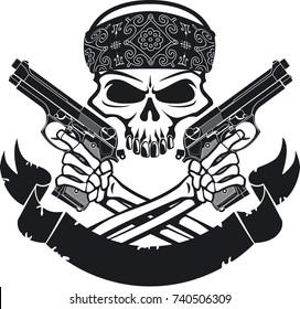 skull holding pistols and banner