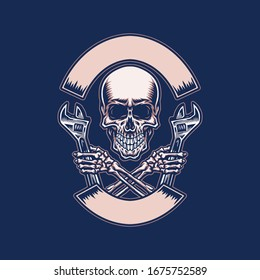 Skull holding wrench, hand drawn line with digital color, vector illustration