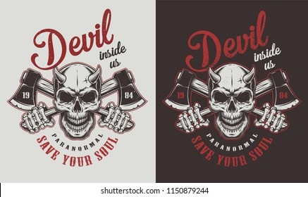 Skull with horns and ax. Vector vintage illustration