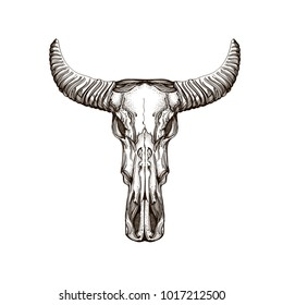 Skull with horns. Elements in the style of Boho. Contour illustrations for the creation of tattoos, coloring, clothing design and printed products.