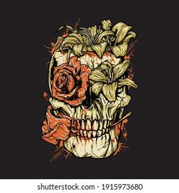 Skull horror flower die blood graphic illustration vector art t-shirt design