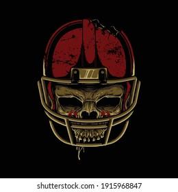 Skull horror football graphic illustration vector art t-shirt design