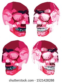 Skull human halloween vector graphic hand-drawn