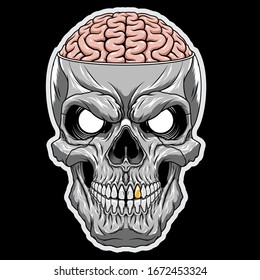 Skull of a human with an open brain. Highly detailed vector illustration.