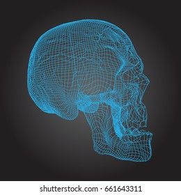 Skull Human, Scary, Locally Deformed in Blue Lines on the Dark background, front view, geometric polygons cranium line art. Vector Illustration