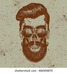 Skull of human with sunglasses.Fashion style.Face of hipster with beard.Hand drawn work.Vector illustration