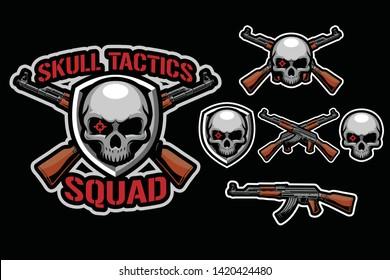 Skull hunter with ak47 weapon sport / e-sport style mascot logo design