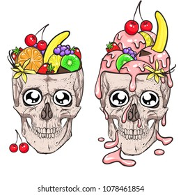 Skull and ice cream. Fruit.