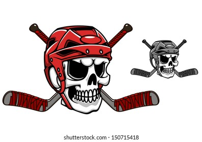 Skull in ice hockey helmet with crossed sticks or idea of logo. Jpeg version also available in gallery