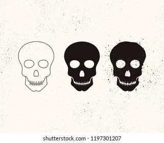 Skull icon. Bony structure that forms the head. Day of the dead symbol. Grunge style. Death symbol. Vector skull sign.