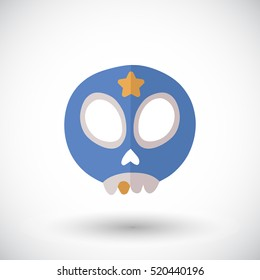 Skull icon. Flat design icon of skull in wrestler mask with golden tooth - for Day of the Dead, Dia de los Muertos or for Halloween. Vector illustration