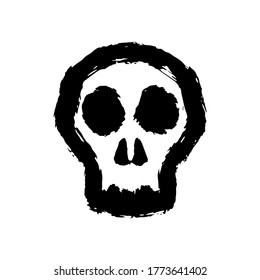 Skull icon. Front view. Black contour silhouette. Hand drawn vector flat graphic illustration. Isolated object on a white background. Isolate.