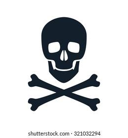 Skull icon vector illustration. Danger scary poison symbol.