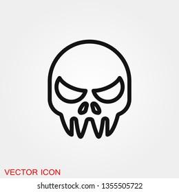 Skull icon vector sign symbol for design