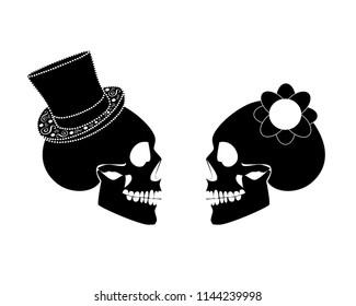 Skull icon wedding couple background