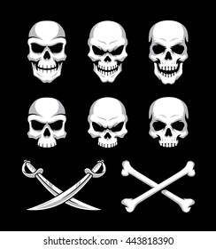 Skull icons with crossbones and crossed swords suitable for logo design