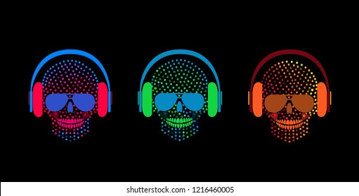 Skull icons with headphones, halftone neon color background