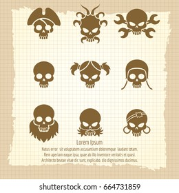 Skull icons on vintage notebook page, vector illustration