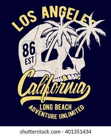 Skull illustration with California typography for t-shirt print , vector illustration.