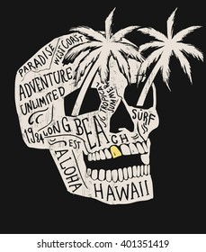 Skull illustration with Hawaiitypography for t-shirt print , vector illustration.