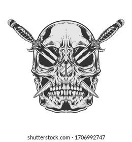 skull illustration with knife on eye vector