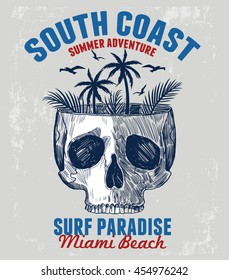 Skull illustration with Miami typography for t-shirt print , vector illustration.