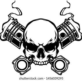 Skull  illustration with smokey piston vector in tattoo style