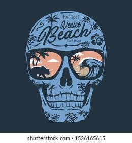 Skull illustration, tee shirt graphics, vectors, beach typography, hand drawn artwork