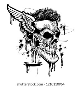 Skull illustration with Wing and dripping effects , T-Shirt graphics, vector design