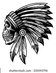 skull indian chief in hand drawing style