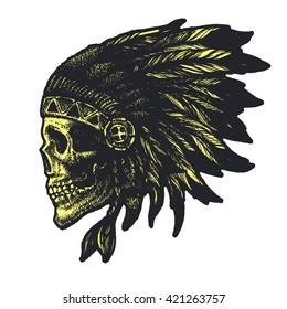 skull indian chief hand drawn vector illustration