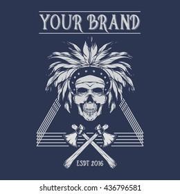 indian skull images stock photos vectors shutterstock rh shutterstock com Indian Chief Head Logo Indian Warrior Logo