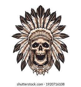 skull indian wearing headdress vector