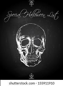Skull Ink Drawing Over Chalkboard Background - Halloween Poster List
