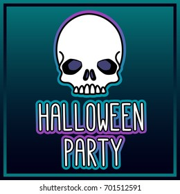 Skull and inscription - Halloween party. It can be used for poster, concert ticket, sticker and other promo materials. Vector image.