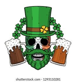 Skull. Irish skull. The skull of Saint Patrick's with green hat, glass beer and clover leaves.